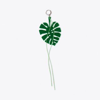 Monstera Leaf & Thread Earring