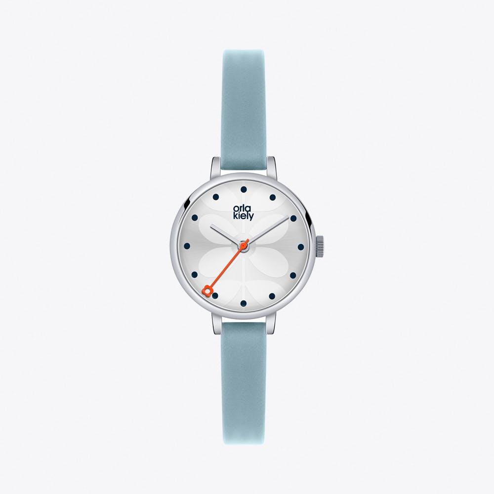 Ivy Watch in Silver & Light Blue