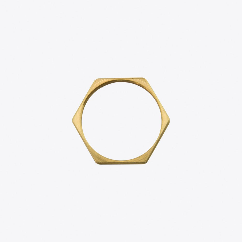 Hexagon Ring in Brushed Brass