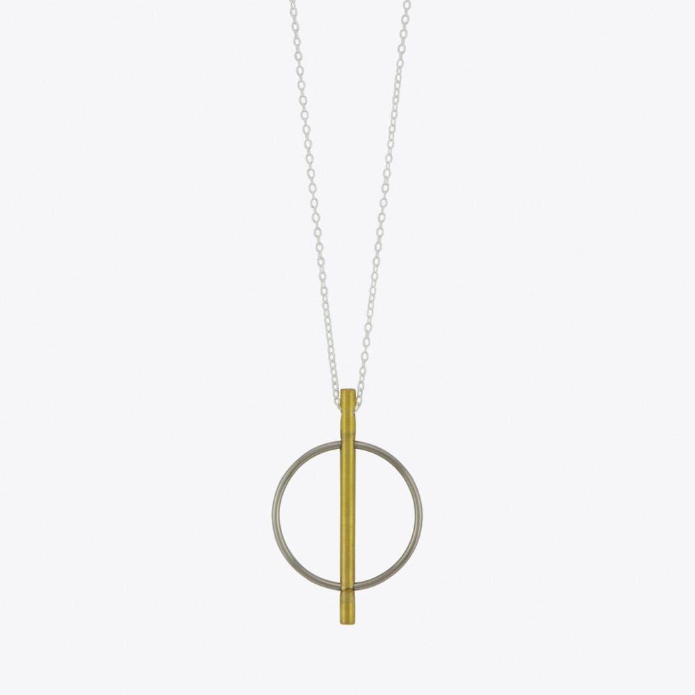 Circle & Line Pendant Necklace