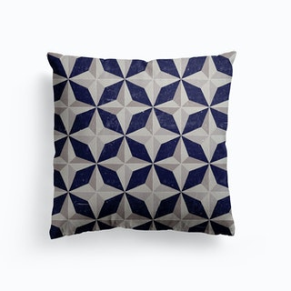 Geometric Navy And Grey Retro Pattern Canvas Cushion