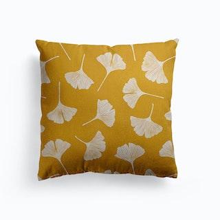 Ginkgo Biloba Leaves On Mustard Background Canvas Cushion