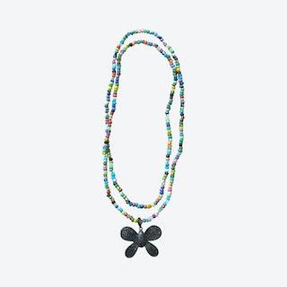 Pastel Butterfly Pendant Necklace - Multicoloured / Black