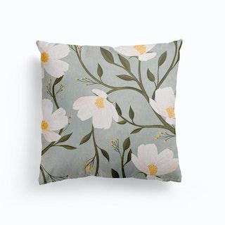 Flores Azules Canvas Cushion