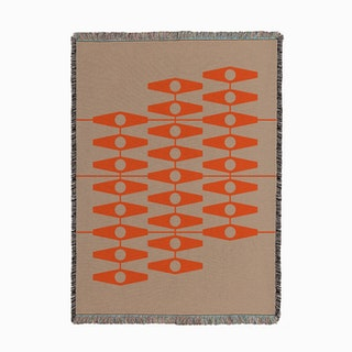 Abstract Eyes In Orange And Tan Woven Throw