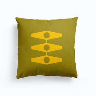 Minimal Eyes In Warm Yellow And Light Olive Canvas Cushion