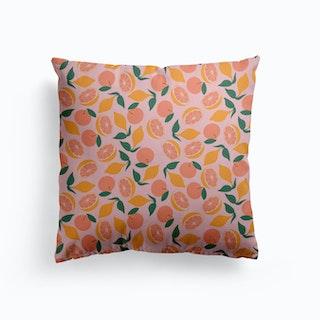Citrus On Pink Canvas Cushion