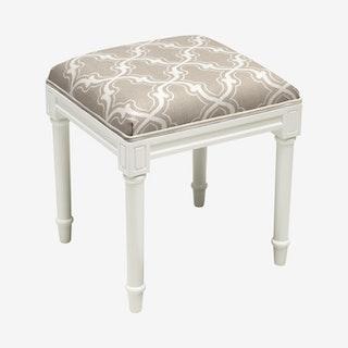 Cottage Vanity Stool - Taupe / White - Linen - Trellis