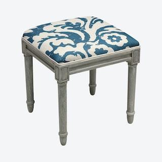 Cottage Vanity Stool - Navy / Grey - Linen - Jacobean