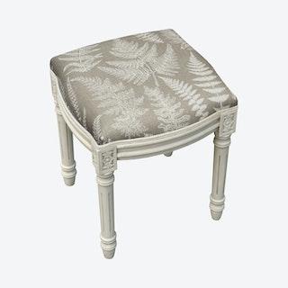 Louis XVI Vanity Stool - Taupe / White - Linen - Fern