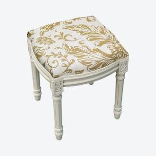 Louis XVI Vanity Stool - Tan / White - Linen - Tuscan