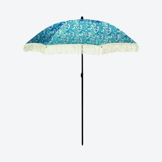 Wave Beach Umbrella - Blue / White