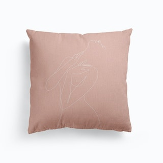 Wake Woman Line Pink Canvas Cushion