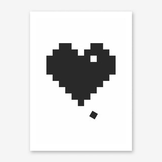 Black Pixel Heart Art Print