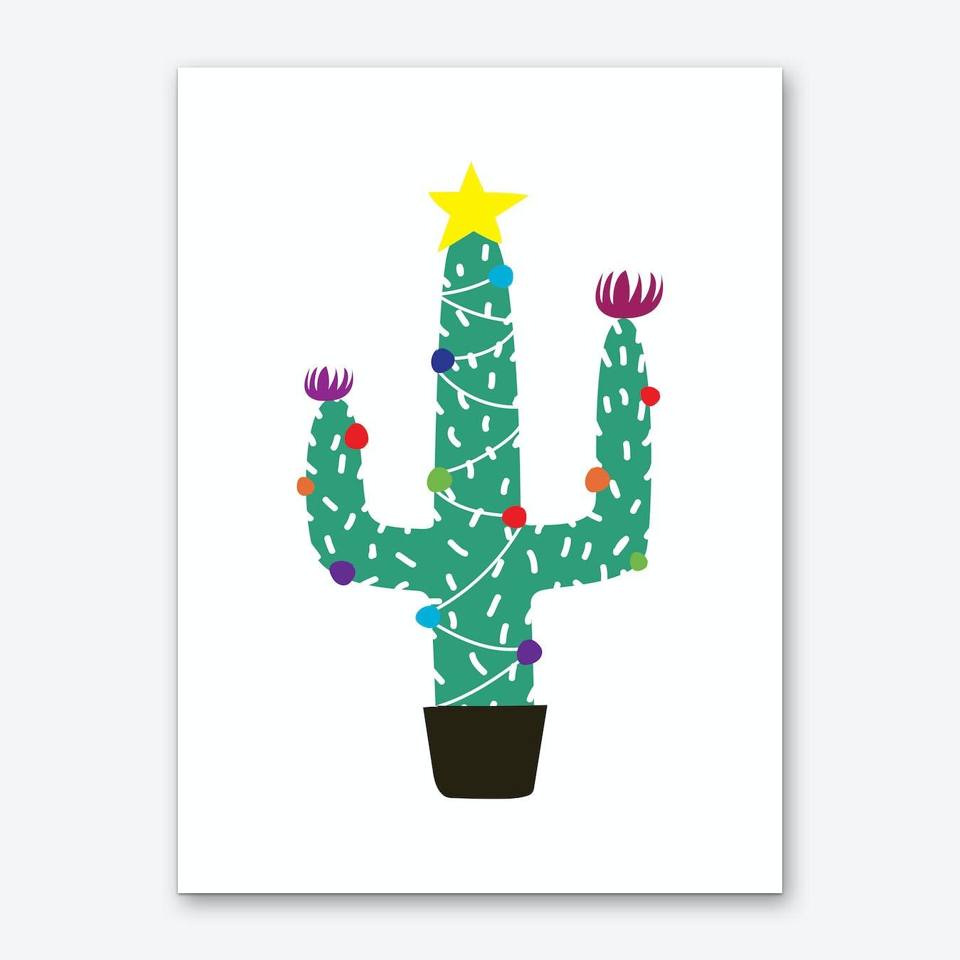 Cactus Christmas Tree.Cactus Christmas Tree Art Print