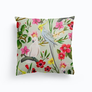 Parakeet And Cockatoo Garden Canvas Cushion