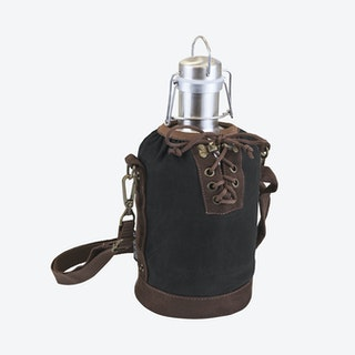 Growler Tote with SS Growler - Black / Silver