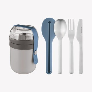 Leo Dual Lunch Box and Flatware Set - Blue / Grey - Set of 5