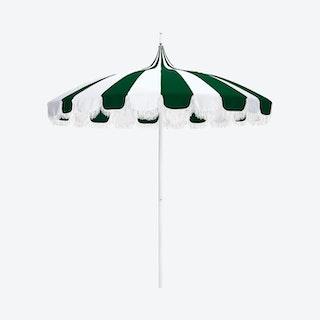 Pagoda Patio Fringe Umbrella - White / Forest Green