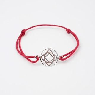 Silver Base Chakra Bracelet in Red