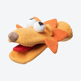 Louis the Lion Hand Puppet - Orange - Organic Cotton Yarn - Hand-Knitted