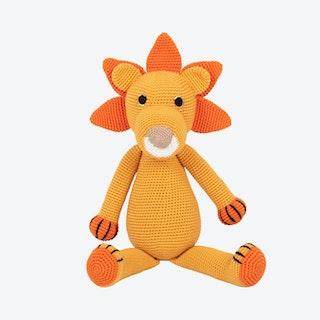 Louis the Lion Stuffed Animal - Orange - Organic Cotton Yarn - Hand-Knitted