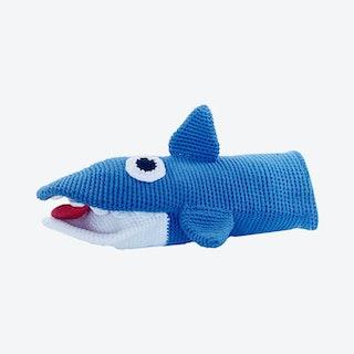 Shark Hand Puppet - Blue - Organic Cotton Yarn - Hand-Knitted