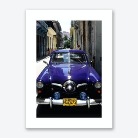 Blue Cuban Car Art Print