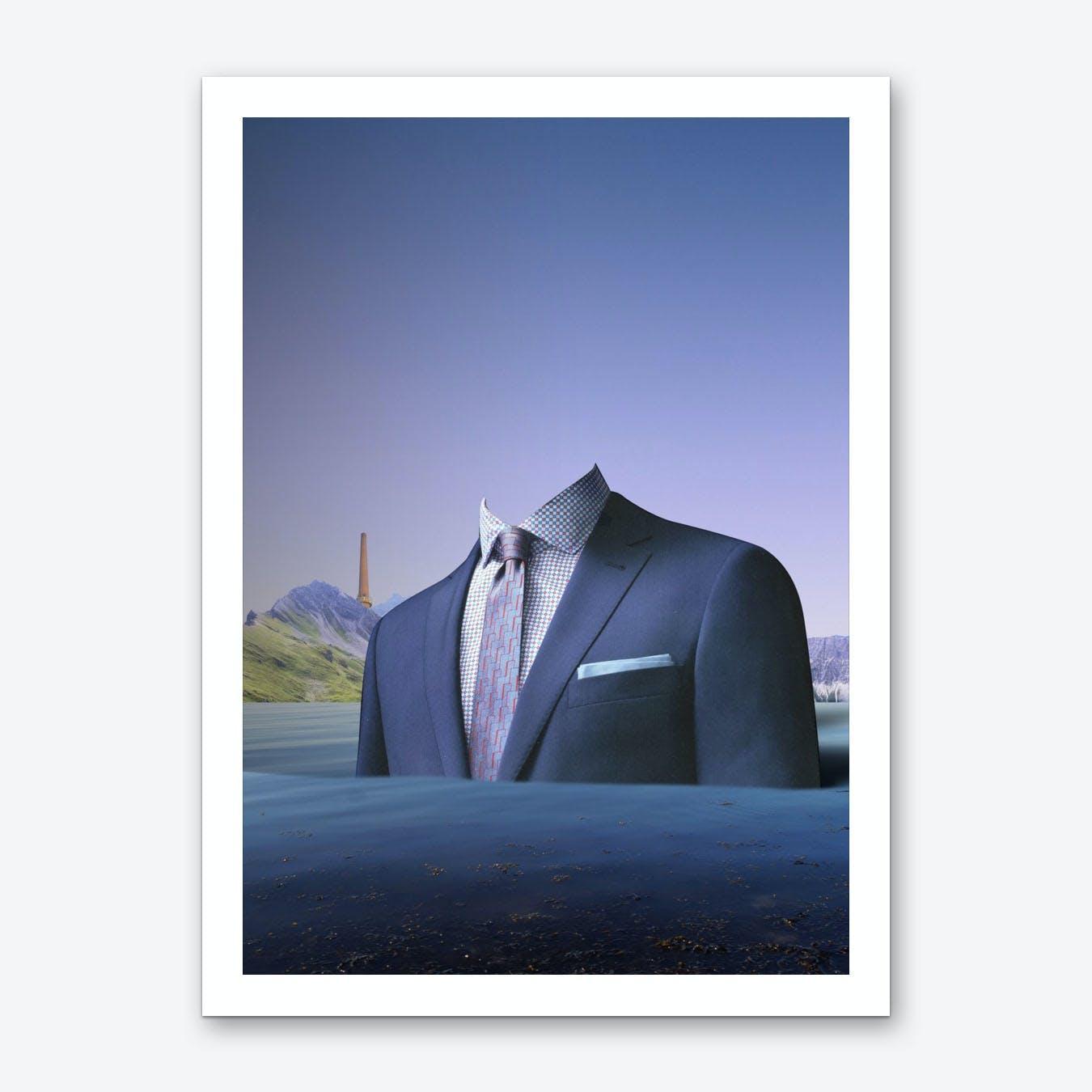 Atmosphere 61 · Der Mann auf der Fahrt ins blaue Art Print