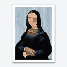 Mona Lisa · Blue Shining Woodcut Art Print