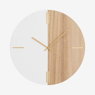 Contemporary Wall Clock - Brown / White
