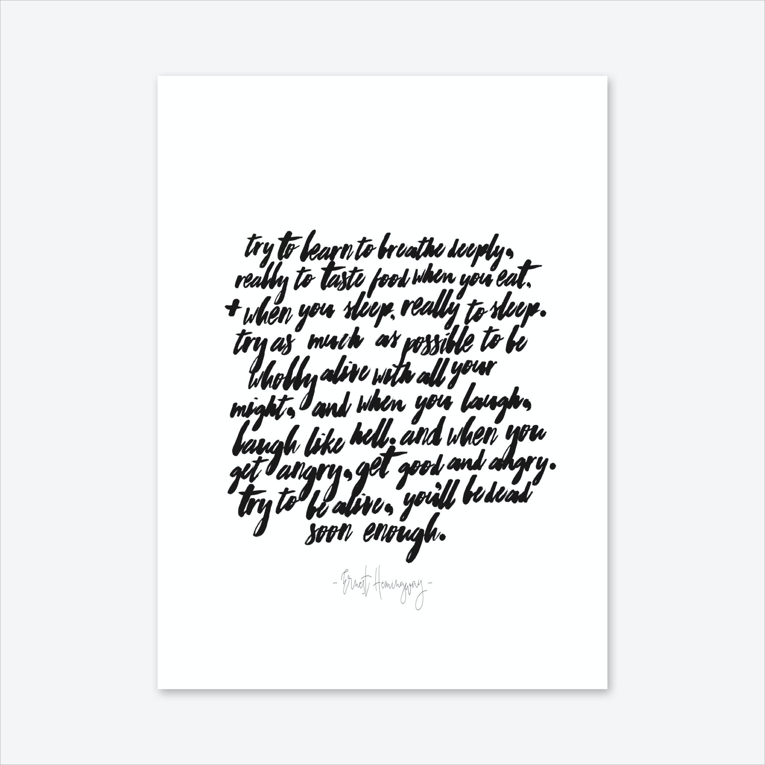 Ernest Hemingay Art Print