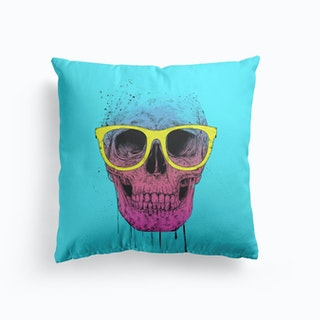 Pop Art Skull With Glasses Cushion