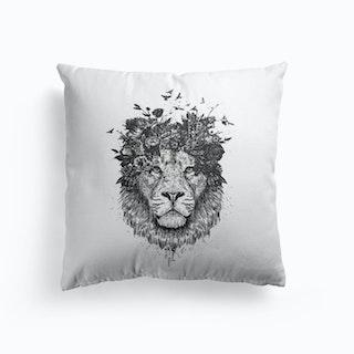 Floral Lion Bw Cushion