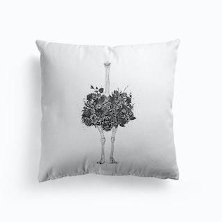 Floral Ostrich Cushion