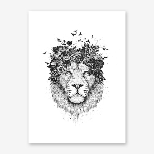 Floral Lion II Wall Art Print | Free Shipping | Fy