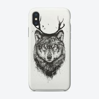 Deer wolf (bw)  iPhone Case