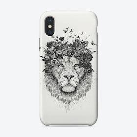 Floral lion (bw)  iPhone Case