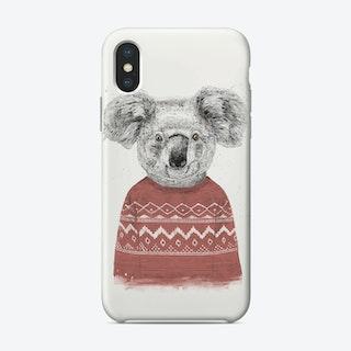 Winter koala (red)  iPhone Case