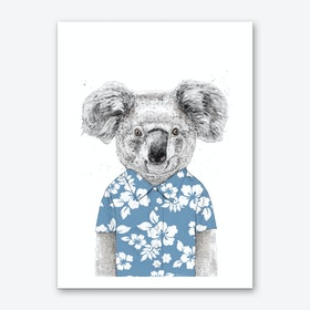 Summer koala (blue) Art Print