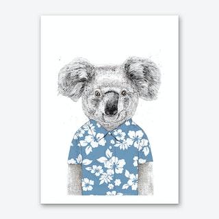 Summer koala (blue) Art Print