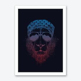 Wild lion (dark) Art Print