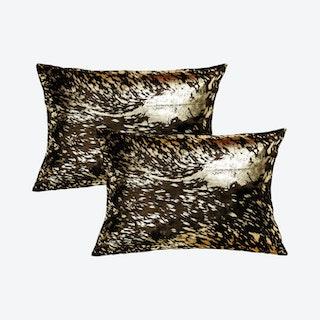 Torino Scotland Cowhide Pillows - Chocolate / Gold - Set of 2