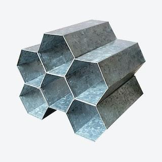 Tabletop Rack with 6-Honeycomb Bottle Storage - Grey - Galvanized Metal
