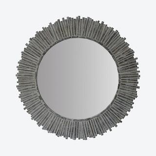 Sunflower Wall Mirror - Grey - Wood