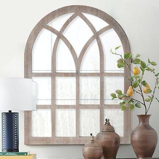 Window Pane Wall Mirror - Washed Brown