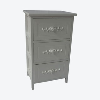 3-Drawer Storage Cabinet - White - Wood