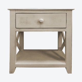 1-Drawer Side Table - White - Wood
