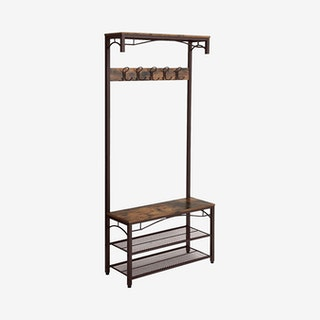 Coat Rack with Bench and Shelves - Brown / Black - Metal / Wood