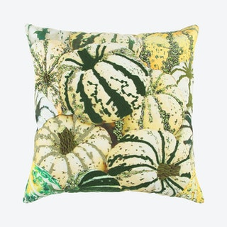Square Poly Filled Pillow - Green / Yellow - Pumpkins